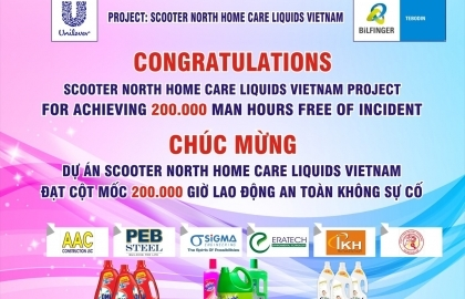 Sigma was awarded for achieving 200,000 man-hours without incident at Unilever Home Care Liquids Plant, North Vietnam